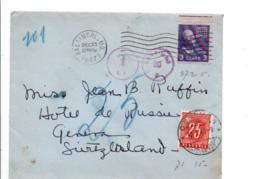 USA ETATS UNIS LETTRE DE BALTIMORE POUR LA SUISSE TAXEE A L'ARRIVEE 1947 - Vereinigte Staaten