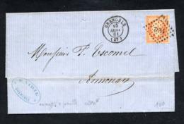 N° 16- Orange Sur Paille - OB Losange PC 1152 Et CAD 15 Janvier 1861 De Grenoble Pr Annonay - 1853-1860 Napoleon III
