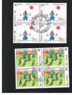 ITALIA  REPUBBLICA - CAT.UNIF.1881.1883  - 1989  EUROPA: GIOCHI INFANTILI          IN QUARTINA  USATA (°) - 6. 1946-.. Repubblica