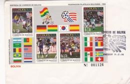 BOLIVIA - FIFA WORLD CUP '94, COPA MUNDIAL DE FUTBOL, FOOTBALL. 1994 FDC WITH BLOCK, SOBRE PRIMER DIA CON HOJA -LILHU - Bolivie