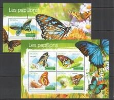 ST134 2015 GUINEE GUINEA FAUNA INSECTS BUTTERFLIES LES PAPILLONS 1KB+1BL MNH - Butterflies