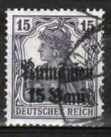 German Occupation Of Romania 1918 Single 15 Bani Overprint On 'Germania' Stamp. - Alemania