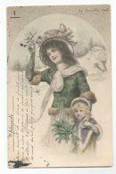 Illustrateur Vienne  CPA Femme Avec Son Enfant Houx - Vienne