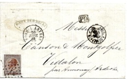 SH 0168. N° 19 N 1 + Càd NORD I ANVERS 26 SEPT 68 S/Lettre V. Vidalon. TB - 1865-1866 Profile Left