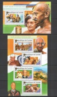 ST197 2015 GUINEE GUINEA FAMOUS PEOPLE 100TH ANNIVERSARY MAHATMA GANDHI KB+BL MNH - Mahatma Gandhi