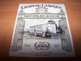 Etiquette Vin Wine Label Saint St Emilion Grand Cru Chateau Laroque 1986 Alexis Lichine - Bordeaux