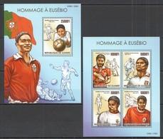ST209 2015 GUINEE GUINEA SPORT FOOTBALL HOMMAGE A EUSEBIO KB+BL MNH - Voetbal