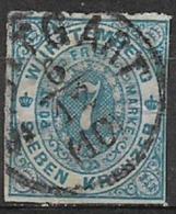 GERMANIA ANTICHI STATI WURTTEMBERG  1869 CIFRA IN UN OVALE UNIF. 39 USATO VF - Wurttemberg