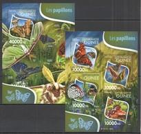 ST240 2015 GUINEE GUINEA FAUNA BUTTERFLIES LES PAPILLONS KB+BL MNH - Butterflies