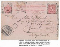 1895 - MARITIME - CP ENTIER De TEBINGTINGGI (NED.INDIE) - CACHETS LIGNE N PAQ FR N°5 + AGENT SINGAPORE ! + .. => SUISSE - Marcofilie (Brieven)