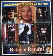 LEGENDARY MOVIES CINEMA OSCAR MOVIES On SOUVENIR STAMP SHEET,cto,used,BATMAN RETURNS - Cinéma