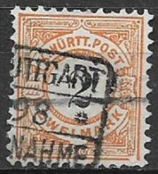 GERMANIA ANTICHI STATI WURTTEMBERG  1881  CIFRA IN NERO SU FONDO BIANCO UNIF. 55 USATO VF - Wurttemberg