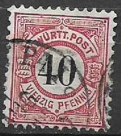GERMANIA ANTICHI STATI WURTTEMBERG  1881  CIFRA IN NERO SU FONDO BIANCO UNIF. 54 USATO VF - Wurttemberg