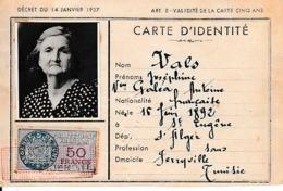 1953 - JERRYVILLE (TUNISIE) Menzel Bourguiba Actuellement - CARTE D'IDENTITÉ - Documents Historiques