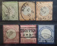 Allemagne Empire Reich 1872, Aigle Gros  Ecusson,  6 Timbres Obl  Yvert No 14, 15 X2 , 16 X2 , 17 ,cote 65  Euros - Usati