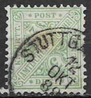 GERMANIA ANTICHI STATI WURTTEMBERG  1881 SERVIZIO  CIFRE CONTRAPPOSTE UNIF. 8 USATO VF - Wurttemberg