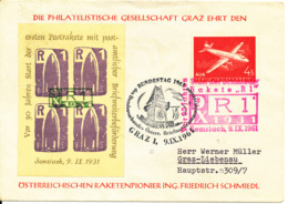 Austria Special Cover And Postmark Graz 9-9-1961 Rocket Mail Ing. Friedrich Schmiedel With Address - 1961-70 Covers