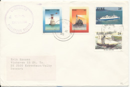 Ireland Cover Sent To Denmark 31-7-1986 Topic Stamps Lighthouses, Ship And Boat - 1949-... Republic Of Ireland