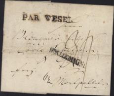 1798 Lettre De Stettin Pologne Pr Montpellier 2 Marques D'entrées Par Wesel Et Hte ALLEMAGNE En Noir Taxe Manuscrite 34 - 1701-1800: Precursori XVIII