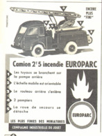 """PUB """" CAMION 2 T 5 INCENDIE """" """" EUROPARC """" 1962 - Advertising - All Brands"""