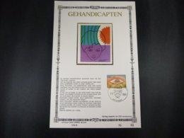"""BELG.1981 2000 FDC Filatelic Card NL ,zijde & Gouden Letters ,oplage 200 Ex !  : """"INTERNATIONAAL JAAR DER GEHANDICAPTEN"""" - FDC"""