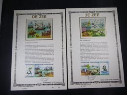 """BELG.1988 2273/2276 FDC Filatelic Cards NL ,zijde & Gouden Letters ,oplage 200 Ex !  : """"DE ZEE"""" - FDC"""