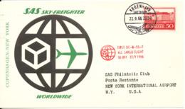 Denmark First Flight Card SAS First DC-8 All Cargo Flight Copenhagen - New York 22-9-1966 - Danimarca