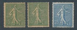 DD-262: FRANCE: Lot Avec N°130**(2)-132* (* Infime) - 1903-60 Semeuse A Righe
