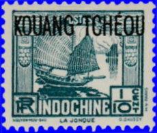 Kouang-Tchéou 1923. ~  YT 97* Par 2 - 1/10 C. Jonque - Unused Stamps