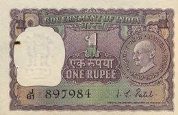 India 1 Rupee, P-66 - Very Fine - Ghandi Banknote - Indien