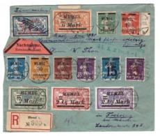 Memel Lettre Recommandée 1922 Pli Recommandé Affranchissement 13 Timbres Différents Dont Merson Pour Freising - Memel (1920-1924)