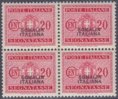 COLONIE ITALIANE SOMALIA 1934 Segnatasse 20c Quartina Gomma Integra - Somalie