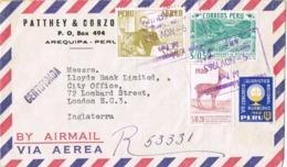34688. Carta Certificada Aerea AREQUIPA (Peru) 1963 A London, England. Viñeta Congreso Eucaristico - Perú
