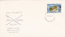 NORFOLK ISLAND - 25th ANNIVERSARY OF ACCESSION OF H.M. QUEEN ELIZABETH II. SILVER JUBILEE 1952-1977. FDC -LILHU - Ile Norfolk
