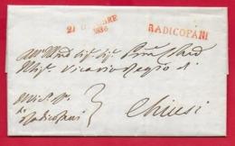 PREFILATELICA - TOSCANA - 1836 - Periodo Granducale - Completa RADICOFANI - CHIUSI - Bollo Rosso Datario Bollo Tribunale - Italia