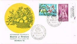 34694. Carta Exposicion VALENCIA 1975. Flores Y Frutos, PLAN SUR Con Bandeleta, Himno Virgen - 1931-Hoy: 2ª República - ... Juan Carlos I
