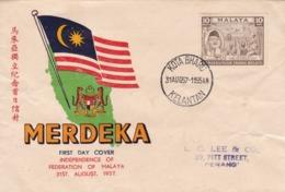 MALAYA - MERDEKA, INDEPENDENCE OF FEDERACION OF MALAYA. 1957 FDC FIRST DAY COVER. -LILHU - Sin Clasificación