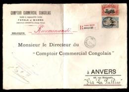 CONGO DEVANT LETTRE MOLS - BILINGUE 1910 - 6 PORTS REC - 3.50FR  - BANDUNDU 1913 - RRR 3F  - BELGIUM  - UN4 - Congo Belga