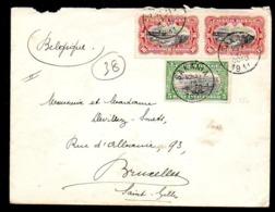 CONGO LETTRE MOLS - BILINGUE 1910 - 1 PORTS - 25C  - SAKANIA 1911 -  BELGIUM  - UN4 - 1894-1923 Mols: Covers
