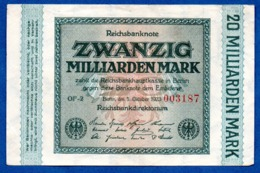 Allemagne -  20 Milliarden Mark  1/10/1923  -- état  TTB+ - 20 Milliarden Mark
