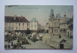 78 - Belle  Carte Colorisée 1906 - MEULAN  -Place Gency Et Rue Basse - Le  Marché Animé - Meulan