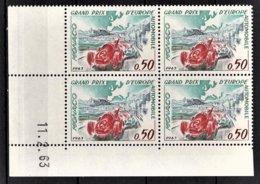 MONACO 1963 - BLOC DE 4 TP -  N° 609  NEUFS  ** COIN DE FEUILLE / DATE - Mónaco