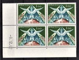 MONACO 1963 - BLOC DE 4 TP COIN DE FEUILLE / DATE / N° 610 - NEUFS ** - Mónaco