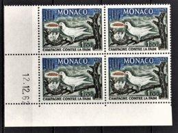 MONACO 1963 / BLOC DE 4 TP COIN DE FEUILLE / DATE / N° 611  NEUFS ** - Mónaco