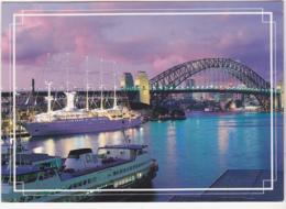 Postcard - Sydney - Circular Bay At Night - Posted, Date Missing Stamp Removed - Card No. 217 - VG - Cartes Postales