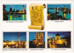 Postcard - London By Night - 5 Views And Scroll - Card No. K83 - VG - Cartes Postales