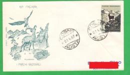 Parchi Nazionali FDC Filagrano Annullo COGNE 1967 Lire 20 National Park - 6. 1946-.. Republic