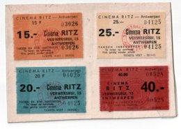 Lot 1005 - 4 Ingangskaarten Cinema Ritz - Antwerpen - - Tickets D'entrée