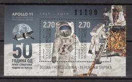 BOSNIA REPUBLIKA SRPSKA 2019 MNH** 797 50 Years From The First Moon Landing - Bosnie-Herzegovine