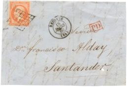 Grille De Bayonne 40 C Sur Devant De Lettre Mars 1860 , Signé - 1849-1876: Période Classique